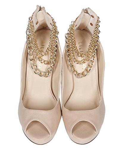 Liliana Ce57 Kvinnor Läder Peep Toe Ankelkedjor Stilett Pump - Naken Läder
