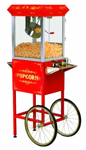 Elite Deluxe EPM-400 Maxi-Matic 8 Ounce Old-Fashioned Popcorn Popper Machine with Trolley, Red by Maximatic