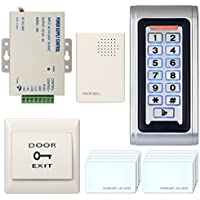 Access Control System, ZOTER Waterproof RFID Card Door Metal Keypad Reader Exit Button Door Bell Security Kit