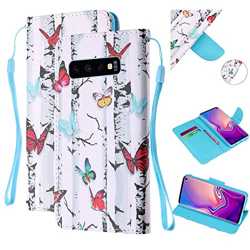 (Amocase Strap Leather Case with 2 in 1 Stylus for Galaxy S10 Plus,Colorful Printed Premium Magnetic Wallet PU Leather Stand Shockproof Card Slot Case for Samsung Galaxy S10 Plus - Tree Butterflies)