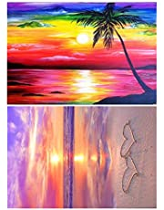 2 Pack 5D Diamond Painting Kits,DIY Rhinestone Painting with Diamonds Gift for Adults Kids,Full Drill Embroidery Cross Stitch Picture Supplies Art Craft for Home Room Wall Decor(11.8 x 15.7 in)