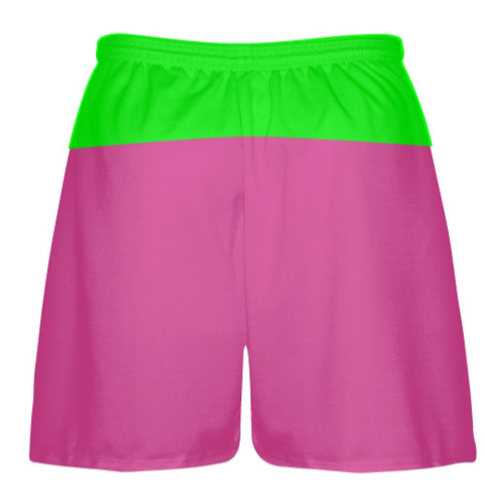 new product ca5a3 1b5f3 LightningWear Hot Pink Neon Green Athletic Shorts - Boys Mens Lacrosse  Shorts  Amazon.ca  Clothing   Accessories