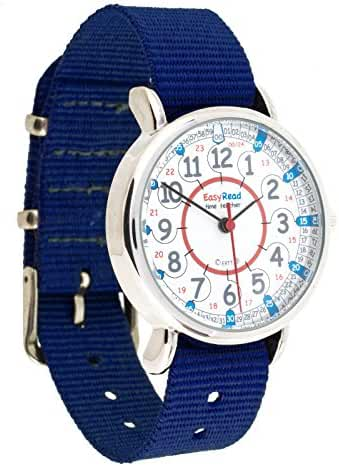 EasyRead Time Teacher Children's Watch, 12 & 24 Hour Time, Red Blue Grey Face / Navy Blue Strap