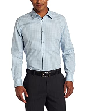 Calvin Klein Men's Long Sleeve Plaid Corded Voile Shirt