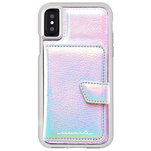 Case-Mate iPhone X Case - COMPACT MIRROR - Iridescent - Holds 4 Cards - Protective Design for Apple iPhone 10 - Iridescent