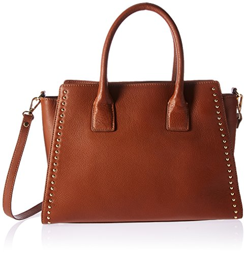 The Fix Audrey Medium Studded Leather Satchel with Top Zip, Cigar ()