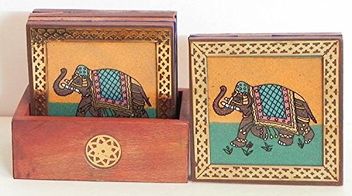 Zap Impex® Rajasthani Sheesham Wood Tea Coaster with Gem Stone Painting with 6 Coaster - Metal work Tea Coaster Set of 6 Plate - Hand Carved Wooden Tea Coaster Holder Square (Elephant)