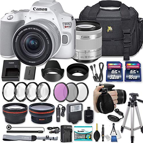 Canon EOS Rebel SL3 DSLR Camera (White) with EF-S 18-55mm f/4-5.6 is STM Lens + 2 Memory Cards + 2 Auxiliary Lenses + HD Filters + 50″ Tripod + Premium Accessories Bundle (24 Items)