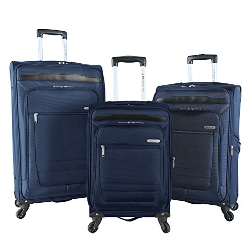 (Travelers Club Luggage 3 Piece Top Durable Expandable Spinner Luggage Set, Blue)