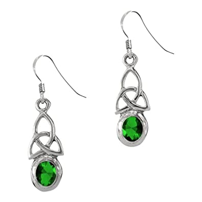 eaf8c2c69 Celtic Trinity Knot Silver Birthstone Drop Earrings May - Emerald:  Amazon.co.uk: Jewellery