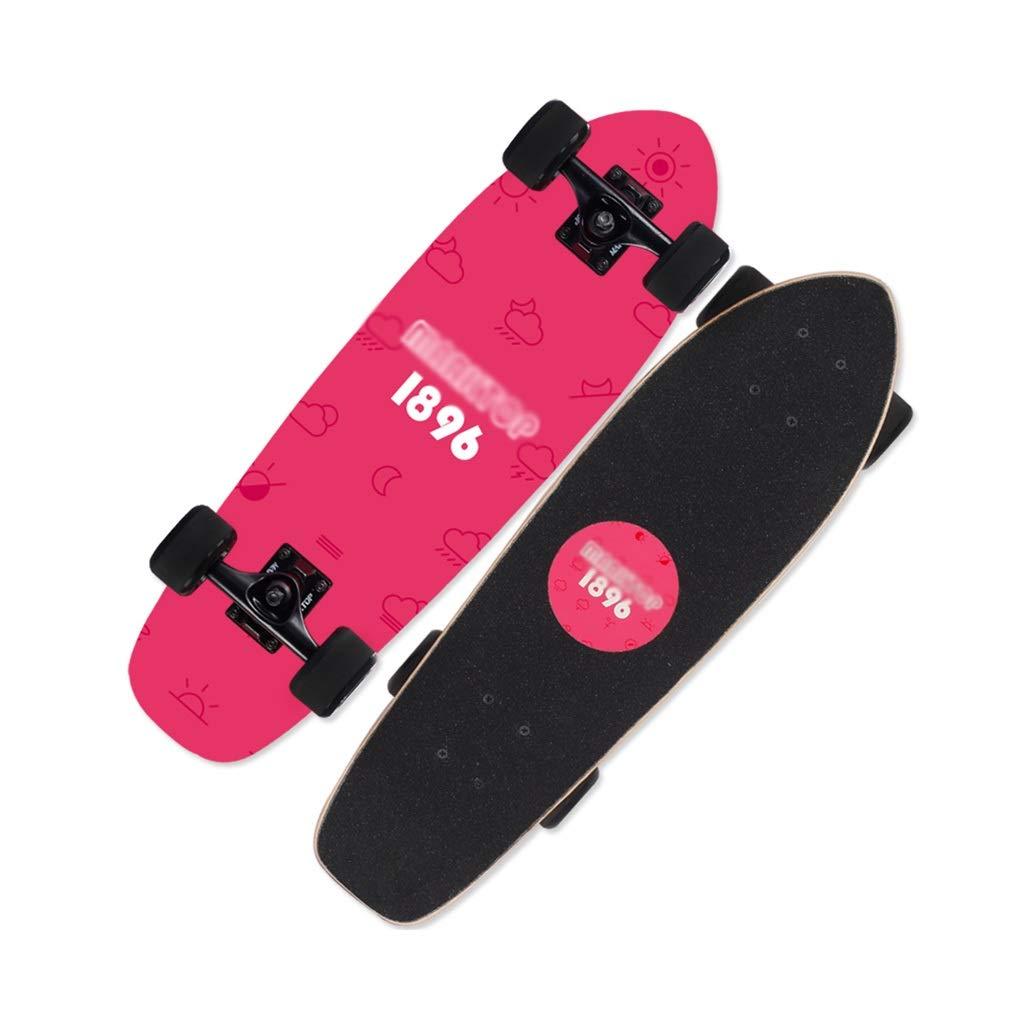 LINGLING-スケートボード 四輪スケートボードブラシストリートスケートボード小さな魚ボードティーン初心者男の子と女の子 - 気分 ピンク