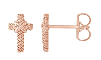 bae8a5f7d Twisted Cross Rope Stud Earrings in Rose Gold Over Sterling Silver By Jewel  Zone US