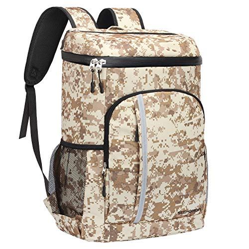 - SEEHONOR Insulated Cooler Backpack Leakproof Soft Cooler Bag Lightweight Backpack Cooler for Lunch Picnic Hiking Camping Beach Park Day Trips, 30 Cans