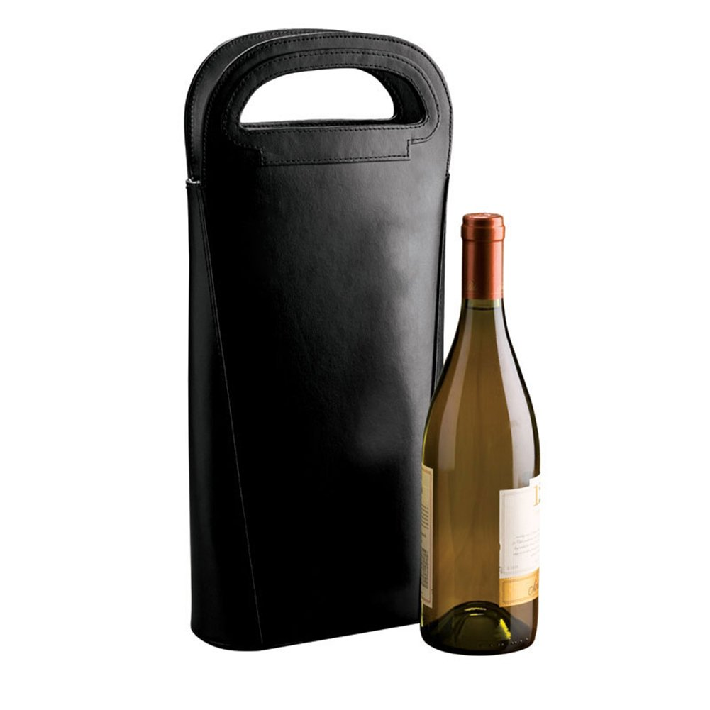 Dual Leather Wine Carrier Tote Cafe for 2 Bottles Foil Lining-Black