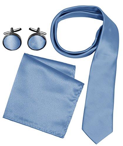 Peach Couture Men's Silk Feel Necktie Cufflinks Pocket Square Handkerchief Set (Solid, Baby Blue) Baby Square