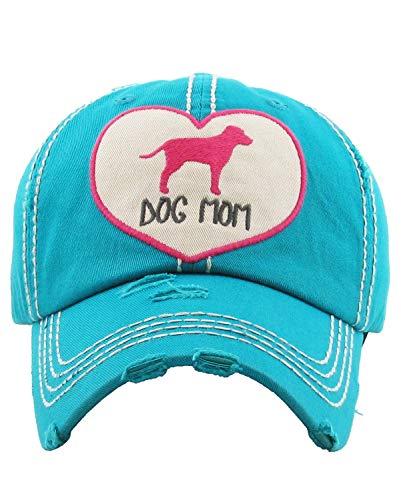 KB Adjustable Ladies Womens Dog Mom Puppy Baseball Cap Hat (Turquoise Blue Pink Heart)