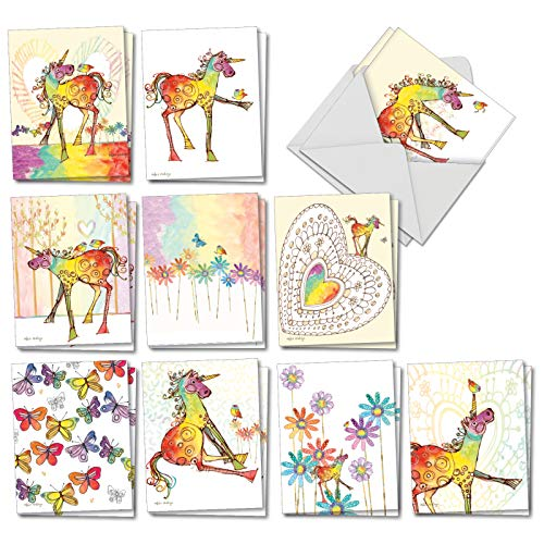 Happy Unicorns - 20 Rainbow Colored Blank Greeting Cards with Envelopes (4 x 5.12 Inch) - Cute Kids Stationery, Artistic Watercolor Drawings - All-Occasion Cards (10 Designs, 2 Each) AM7245OCB-B2x10 (Inspiration Christmas Graphic Design Card)