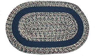 product image for Oval Braided Rug (2'x3'): Oatmeal Williamsburg Blue - Williamsburg Blue Band