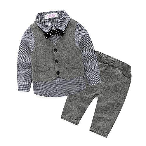 Baby Boy Vest Set Plaid Suit Shirt Pants Bowtie Gentleman Toddler Clothes Outfit (#70 (6-12 Months), Gray Plaid) -