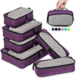 6 Set Packing Cubes for Travel Carry On Luggage Organizer Bags Cubes (Purple)