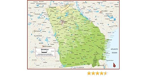 Academia Mapas – Georgia Estado mapa mural – Laminado totalmente ...