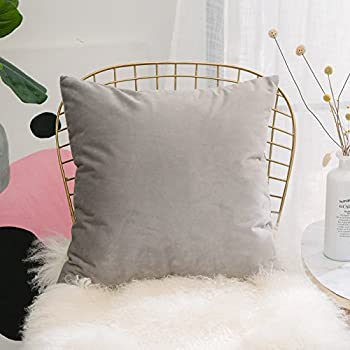 Home Brilliant Decorative Ultra Soft Velvet Cushion Cover Euro Throw Pillowcase Cover for Teen Girls Kids Baby, 24 x 24 inches(60x60 cm), Light Grey
