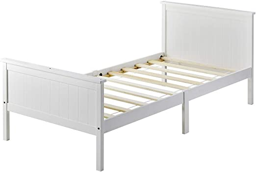 belupai Marco de cama de madera con cabecero y estribo, cama ...