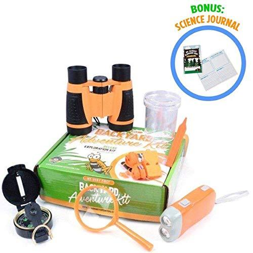 Mr. E=mc2 Exploration Kit for Kids with Bonus Nature Journal 9 Piece   Kids Binoculars Set w Child's Compass, Bug Kit, Flashlight, Magnifying Glass, Whistle, Backpack   Children's Outside Toys