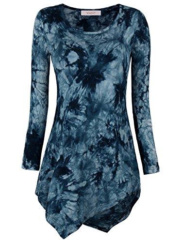 WAJAT - Camiseta Top para Mujer Bajo Asimetrico Azul Estampado