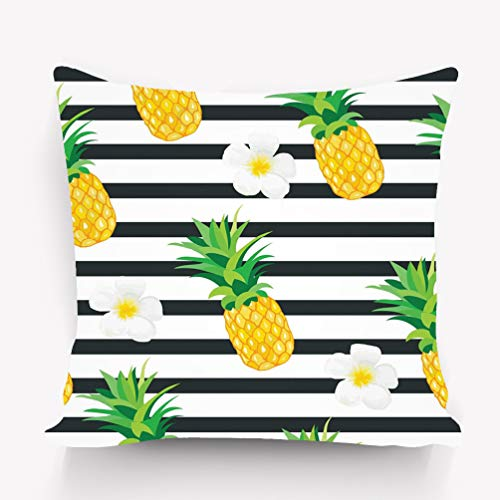 (YILINGER Decorative Cotton Velvet Vintage Home Throw Pillow Case Cushion Cover 18X18 Pineapple Exotic Flowers Tropical Summer Wallpaper Wrapper Textile eps Psychedelic )