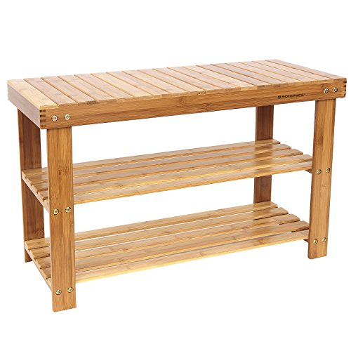 SONGMICS 100% Natural Bamboo Shoe Bench 2-Tier Shoe Storage Racks Shelf Organizer (Shoe Size Table)