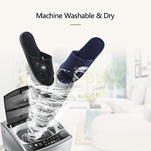 0838a3e9933f69 Magtoe Men Washable Microfiber Suede Adjustable Memory Foam Home Open Toe  Indoor Slippers