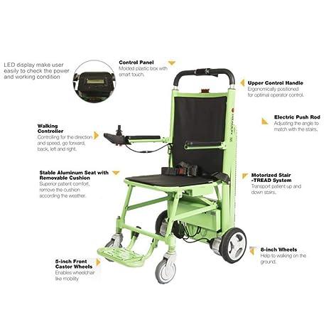 Silla de ruedas eléctrica plegable de la prima, silla de la escalera de la evacuación, transporte de emergencia manual de la pista elevación-capacidad de ...