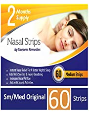 Nasal Strips Medium 60 Pack Sleepeze Remedies® | Stop Snoring Nasal Aids Help You Breathe Right | Premium Anti Snoring Nasal Strips Dilators That Aids Sleep Apnea and Snore Devices | Guaranteed 12M