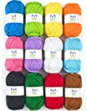 Mira Handcrafts Acrylic 1.76 Ounce(50g) Each Large Yarn Skeins – 12 Multicolour Knitting and Crochet Yarn Bulk – Starter Kit for Colourful Craft - 7 Ebooks with Yarn Patterns