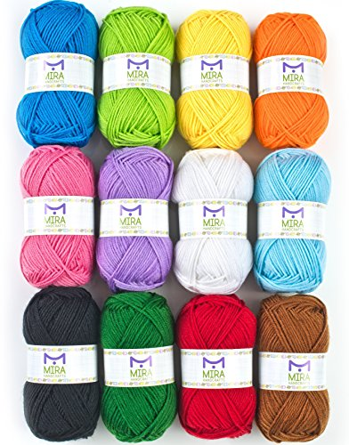 Mira Handcrafts Acrylic 1.76 Ounce(50g) Each Large Yarn Skeins – 12 Multicolor Knitting and Crochet Yarn Bulk – Starter Kit for Colorful Craft - 7 Ebooks with Yarn ()