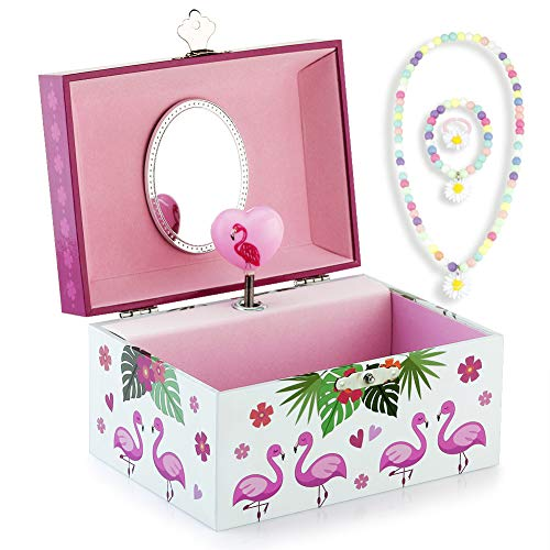 RR ROUND RICH DESIGN Kids Musical Jewelry Box for Girls and Jewelry Set with Flamingo Theme - Beautiful Dream Tune White