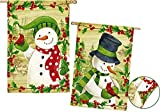 Cheap Evergreen Winterberries Snowmen Suede House Flag, 29 x 43 inches
