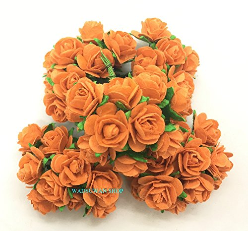 50 pcs Orange Rose Mulberry Paper Flower 20 mm Scrapbooking Wedding Doll House Supplies Card. by WADSUWAN Shop