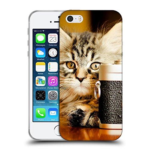 Just Phone Cases Coque de Protection TPU Silicone Case pour // V00004275 Chaton prend une photo // Apple iPhone 5 5S 5G SE