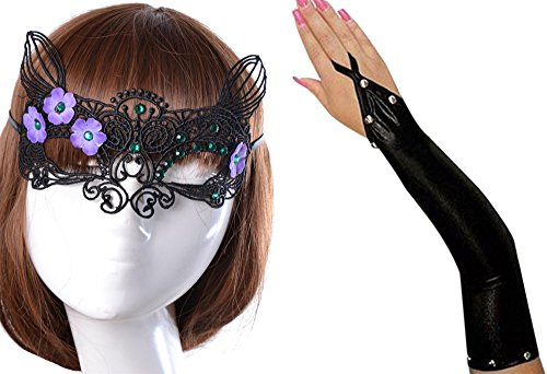 [Anmengte Halloween Masquerade Party Cosplay Costume Accessories Gloves+Eye Mask (One size, 12-2)] (Masquarde Masks)