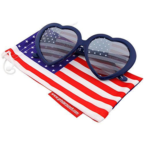 grinderPUNCH Women's Emma Stripes Heart American Flags Sunglasses Blue
