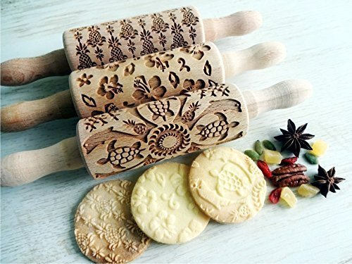 HAWAII, 3 KIDS Rolling pin SET . Wooden Laser Cut Mini Rolling Pins for cookies, play dough, salt dough or clay by Sun Crafts