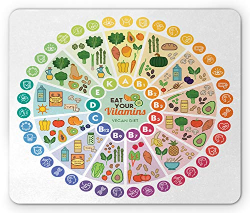 Ambesonne Vegan Mouse Pad, Vitamin Vegan Food Sources and Functions Rainbow Wheel Chart with Icons Healthcare, Standard Size Rectangle Non-Slip Rubber Mousepad, Multicolor
