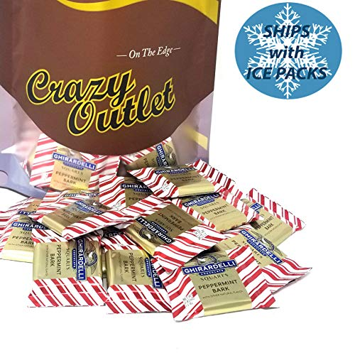 (CrazyOutlet Pack - Ghirardelli Peppermint Bark Squares Candy, Individually Wrapped, 2 lbs )