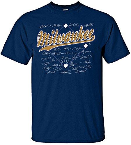 Milwaukee Brewers Player - Coed Sportswear MLB Milwaukee Brewers Team Signed T-Shirt, Medium, Navy