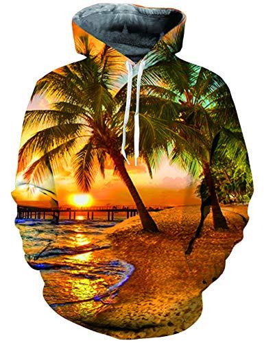 UNIFACO Teen Boys Beach Print Hooded Sweatshirt Cool Pullover Hoodie with Velvet - Hooded Beach Sweatshirt