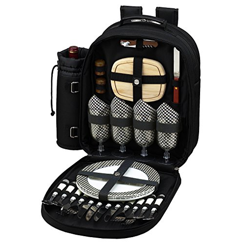 Picnic at Ascot - Deluxe Equipped 4 Person Picnic Backpack with Cooler & Insulated Wine Holder - Black by Picnic at Ascot