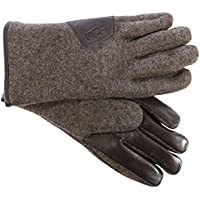 UGG Mens Fabric Smart Gloves w/ Leather Trim