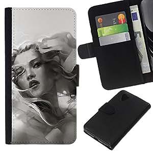 All Phone Most Case / Oferta Especial Cáscara Funda de cuero Monedero Cubierta de proteccion Caso / Wallet Case for LG Nexus 5 D820 D821 // Grayscale Girl
